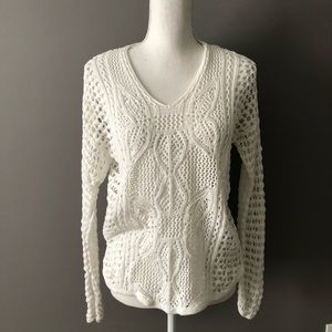 White cotton crochet bee neck sweater